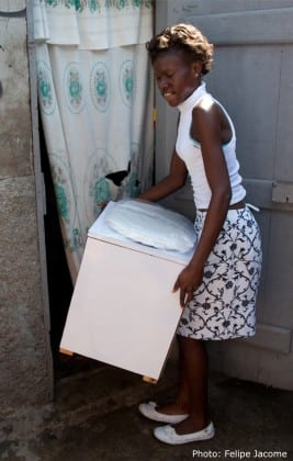 Residents of Cap Haitien, Haiti receive portable, affordable dry household toilets