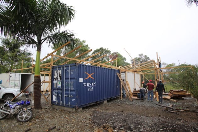 Photo of the construction of the new depot in Ti Lary by Vic Hinterlang.